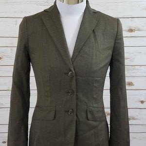 Ann Taylor Brown Blazer Jacket Wool Blend Size 2